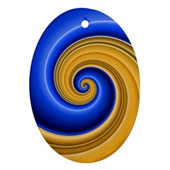 Golden Spiral Gold Blue Wave Oval Ornament (two Sides) by Alisyart