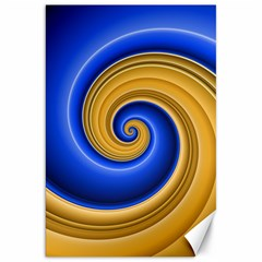 Golden Spiral Gold Blue Wave Canvas 20  X 30   by Alisyart