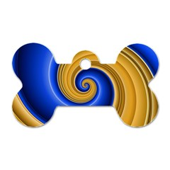 Golden Spiral Gold Blue Wave Dog Tag Bone (one Side)