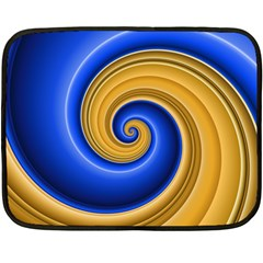 Golden Spiral Gold Blue Wave Double Sided Fleece Blanket (mini)  by Alisyart