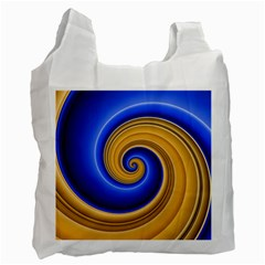 Golden Spiral Gold Blue Wave Recycle Bag (one Side)