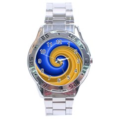 Golden Spiral Gold Blue Wave Stainless Steel Analogue Watch