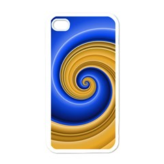 Golden Spiral Gold Blue Wave Apple Iphone 4 Case (white)