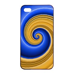 Golden Spiral Gold Blue Wave Apple Iphone 4/4s Seamless Case (black) by Alisyart