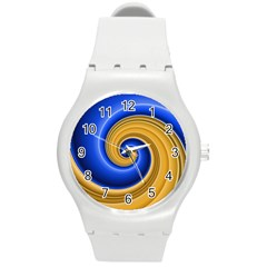 Golden Spiral Gold Blue Wave Round Plastic Sport Watch (m)