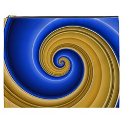 Golden Spiral Gold Blue Wave Cosmetic Bag (xxxl)