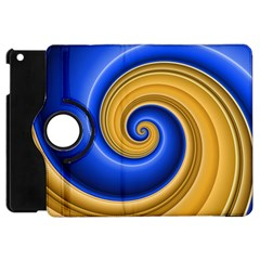 Golden Spiral Gold Blue Wave Apple Ipad Mini Flip 360 Case