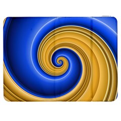 Golden Spiral Gold Blue Wave Samsung Galaxy Tab 7  P1000 Flip Case by Alisyart