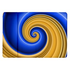 Golden Spiral Gold Blue Wave Samsung Galaxy Tab 10 1  P7500 Flip Case