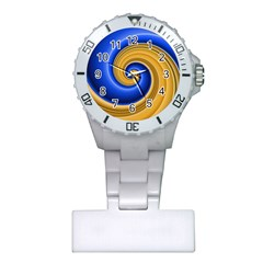 Golden Spiral Gold Blue Wave Plastic Nurses Watch by Alisyart