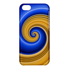 Golden Spiral Gold Blue Wave Apple Iphone 5c Hardshell Case by Alisyart