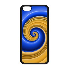 Golden Spiral Gold Blue Wave Apple Iphone 5c Seamless Case (black) by Alisyart