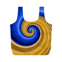 Golden Spiral Gold Blue Wave Full Print Recycle Bags (m)