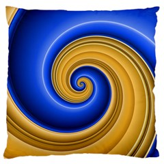 Golden Spiral Gold Blue Wave Standard Flano Cushion Case (two Sides) by Alisyart