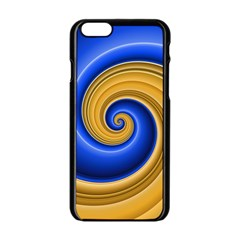 Golden Spiral Gold Blue Wave Apple Iphone 6/6s Black Enamel Case