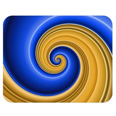 Golden Spiral Gold Blue Wave Double Sided Flano Blanket (medium)
