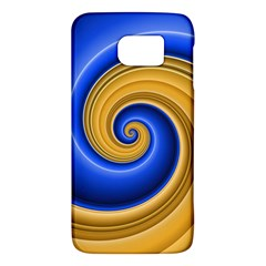 Golden Spiral Gold Blue Wave Galaxy S6 by Alisyart