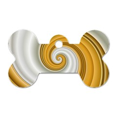 Golden Spiral Gold White Wave Dog Tag Bone (one Side) by Alisyart