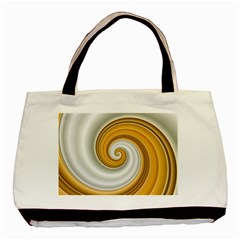 Golden Spiral Gold White Wave Basic Tote Bag (two Sides) by Alisyart