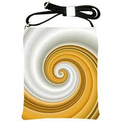 Golden Spiral Gold White Wave Shoulder Sling Bags by Alisyart