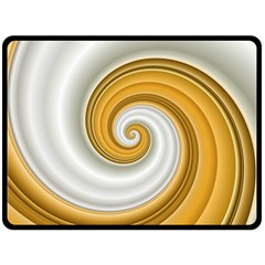 Golden Spiral Gold White Wave Fleece Blanket (large)  by Alisyart