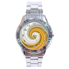 Golden Spiral Gold White Wave Stainless Steel Analogue Watch