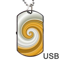 Golden Spiral Gold White Wave Dog Tag Usb Flash (two Sides) by Alisyart