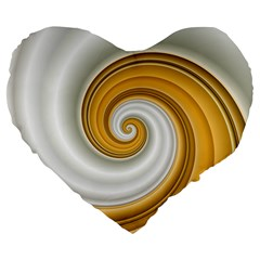 Golden Spiral Gold White Wave Large 19  Premium Heart Shape Cushions