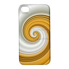 Golden Spiral Gold White Wave Apple Iphone 4/4s Hardshell Case With Stand by Alisyart
