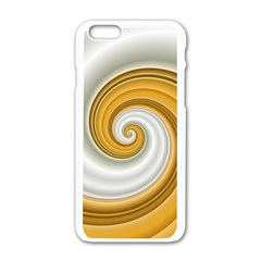 Golden Spiral Gold White Wave Apple Iphone 6/6s White Enamel Case by Alisyart