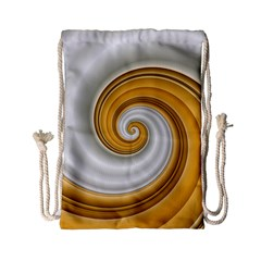 Golden Spiral Gold White Wave Drawstring Bag (small) by Alisyart