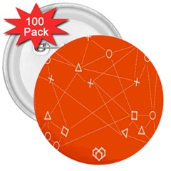 Leadership Deep Dive Orange Line Circle Plaid Triangle 3  Buttons (100 Pack)