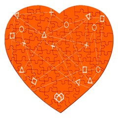 Leadership Deep Dive Orange Line Circle Plaid Triangle Jigsaw Puzzle (heart) by Alisyart