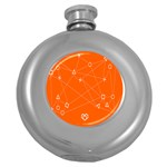 Leadership Deep Dive Orange Line Circle Plaid Triangle Round Hip Flask (5 oz) Front