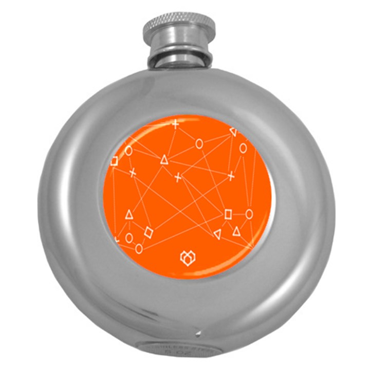Leadership Deep Dive Orange Line Circle Plaid Triangle Round Hip Flask (5 oz)