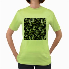Flourish Floral Purple Grey Black Flower Women s Green T Shirt by Alisyart