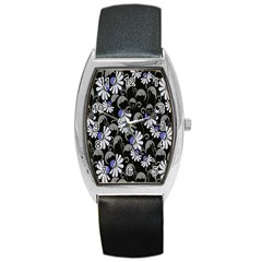 Flourish Floral Purple Grey Black Flower Barrel Style Metal Watch