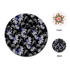 Flourish Floral Purple Grey Black Flower Playing Cards (round)  by Alisyart