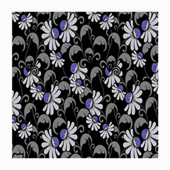 Flourish Floral Purple Grey Black Flower Medium Glasses Cloth (2 Side)