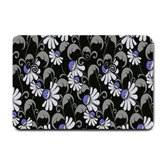 Flourish Floral Purple Grey Black Flower Small Doormat