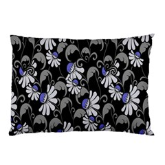 Flourish Floral Purple Grey Black Flower Pillow Case by Alisyart
