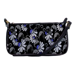 Flourish Floral Purple Grey Black Flower Shoulder Clutch Bags