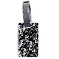 Flourish Floral Purple Grey Black Flower Luggage Tags (one Side)  by Alisyart