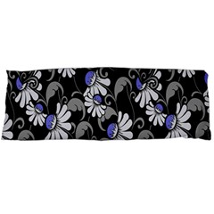 Flourish Floral Purple Grey Black Flower Body Pillow Case (dakimakura)