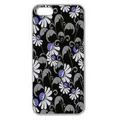 Flourish Floral Purple Grey Black Flower Apple Seamless Iphone 5 Case (clear)