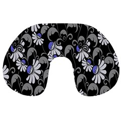 Flourish Floral Purple Grey Black Flower Travel Neck Pillows by Alisyart