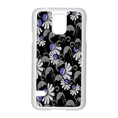 Flourish Floral Purple Grey Black Flower Samsung Galaxy S5 Case (white)