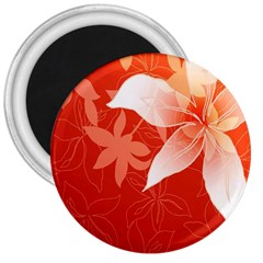 Lily Flowers Graphic White Orange 3  Magnets