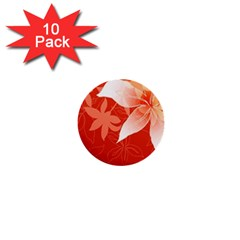 Lily Flowers Graphic White Orange 1  Mini Buttons (10 Pack)