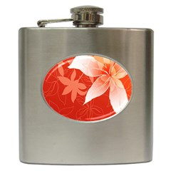 Lily Flowers Graphic White Orange Hip Flask (6 Oz)